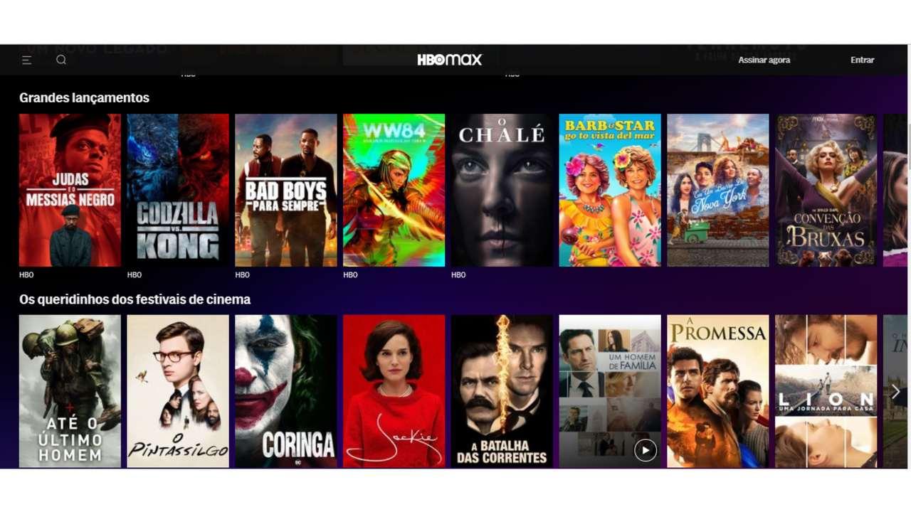 Captura de tela do catálogo de filmes do HBO Max