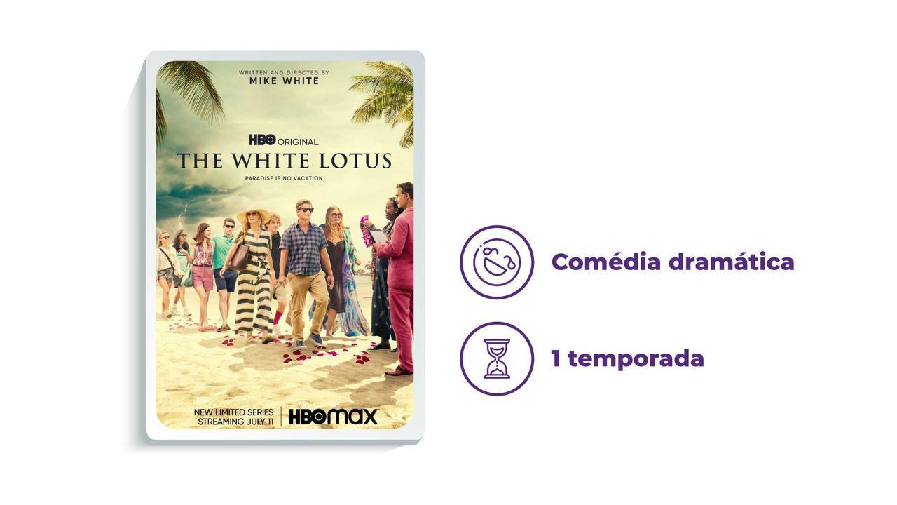 """Banner de divulgação da série """"The White Lotus"""" ao lado dos escritos """"Comédia dramática"""" e """"1 temporada"""""""