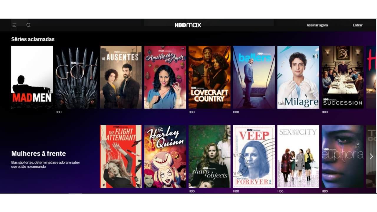 Captura de tela do catálogo do HBO Max