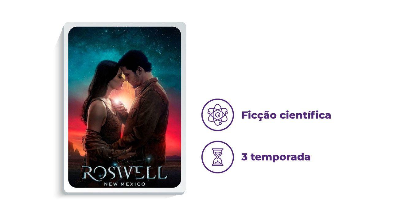 """Capa da série """"Roswell, New Mexico"""" no HBO Max ao lado dos escritos """"Ficção científica"""" e """"3 temporadas"""""""