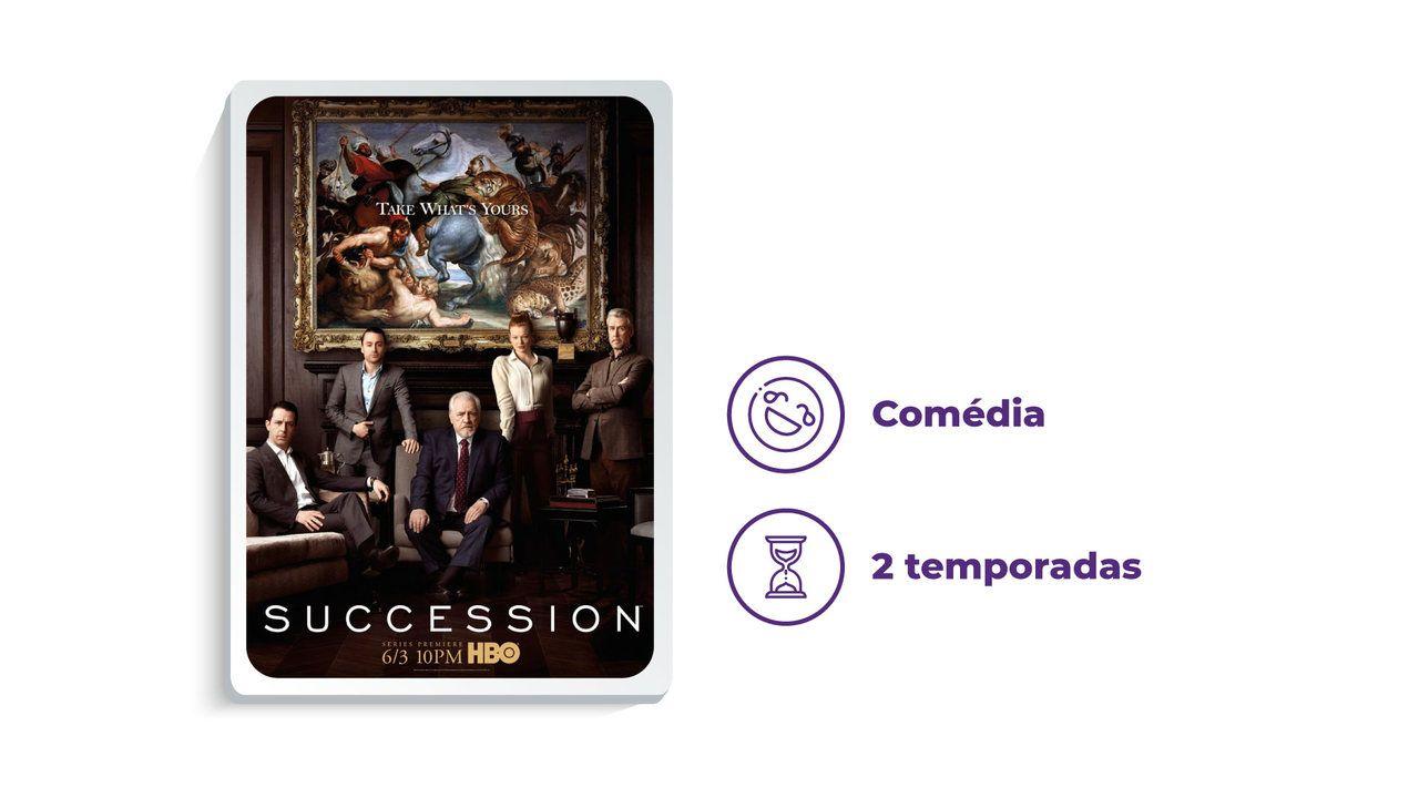 """Capa da série """"Succession"""" no HBO Max ao lado dos escritos """"Comédia"""" e """"2 temporadas"""""""