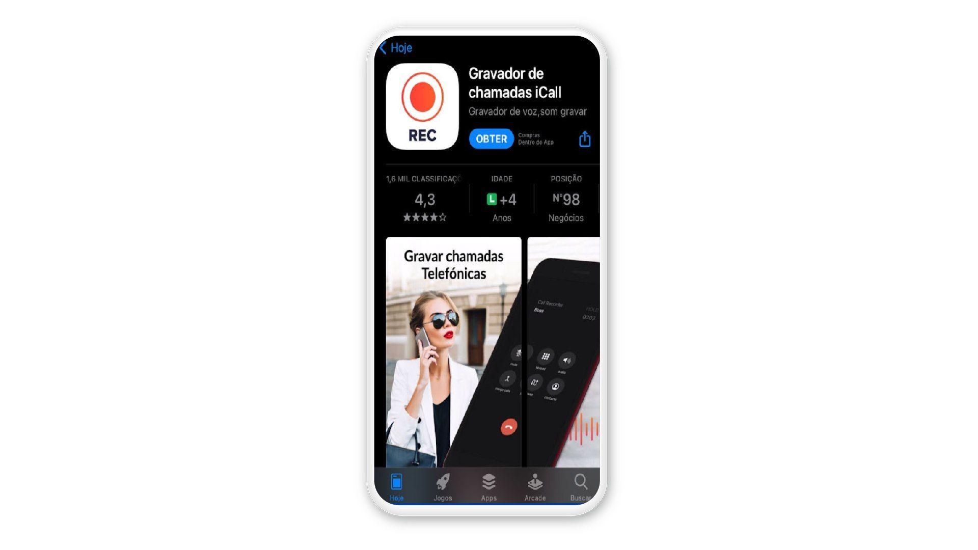 Tela do iPhone com App Store aberta no aplicativo iCall