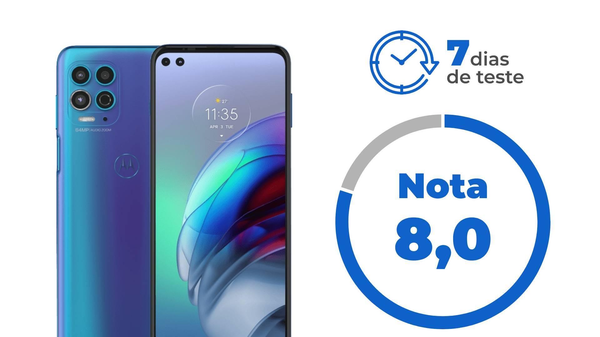 Imagem mostra celular em frente e verso, com a nota 8 e o tempo de teste (7 dias)