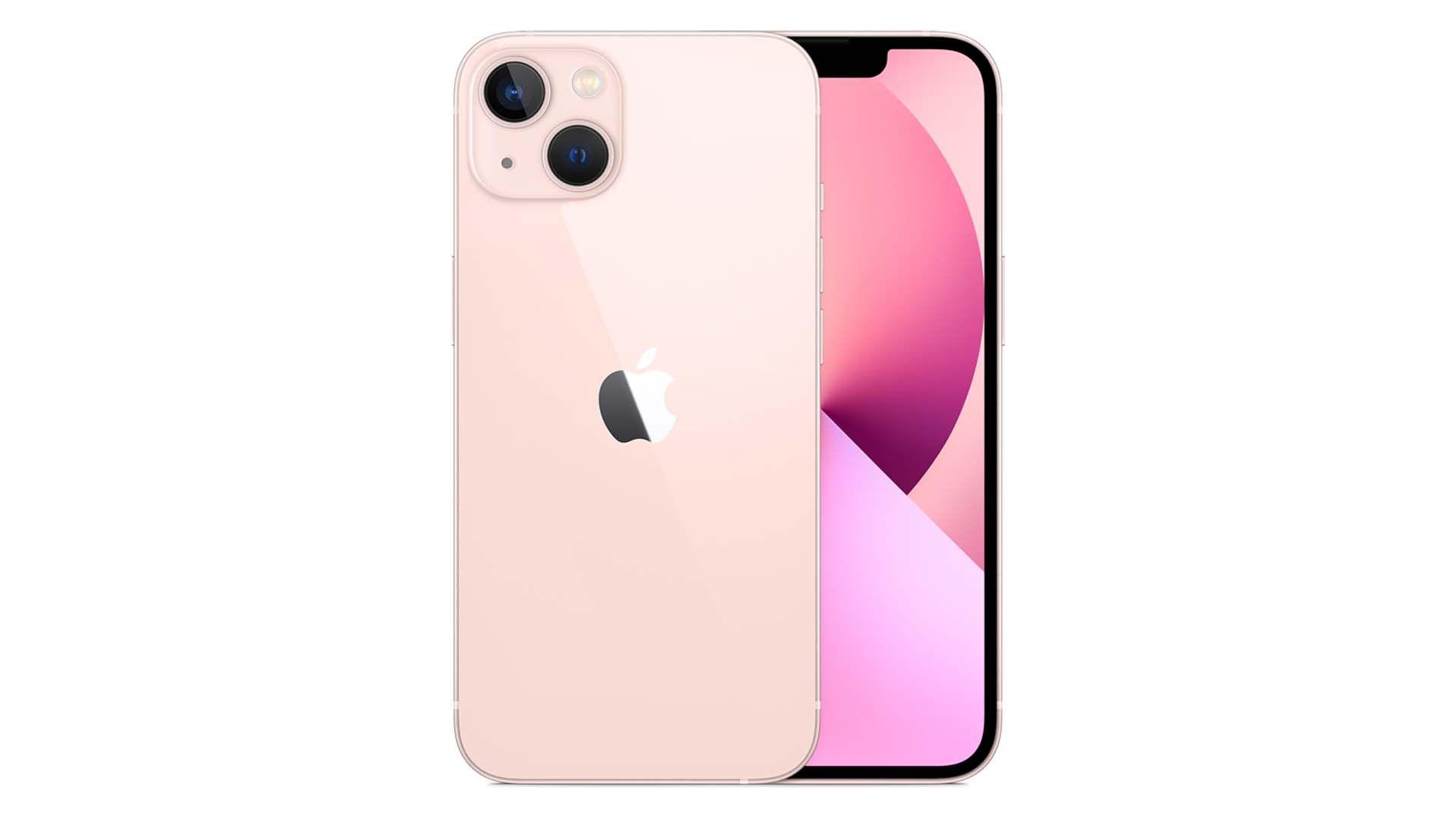 Foto do iPhone 13 rosa frente e verso