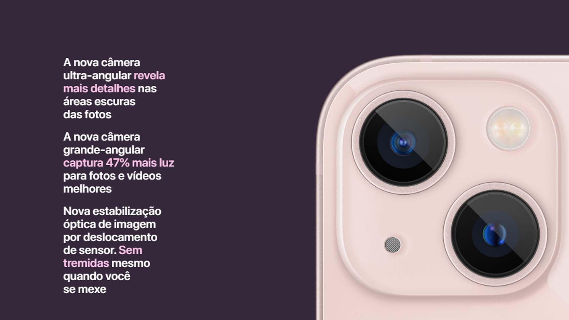 Imagem das duas câmeras do iPhone 13