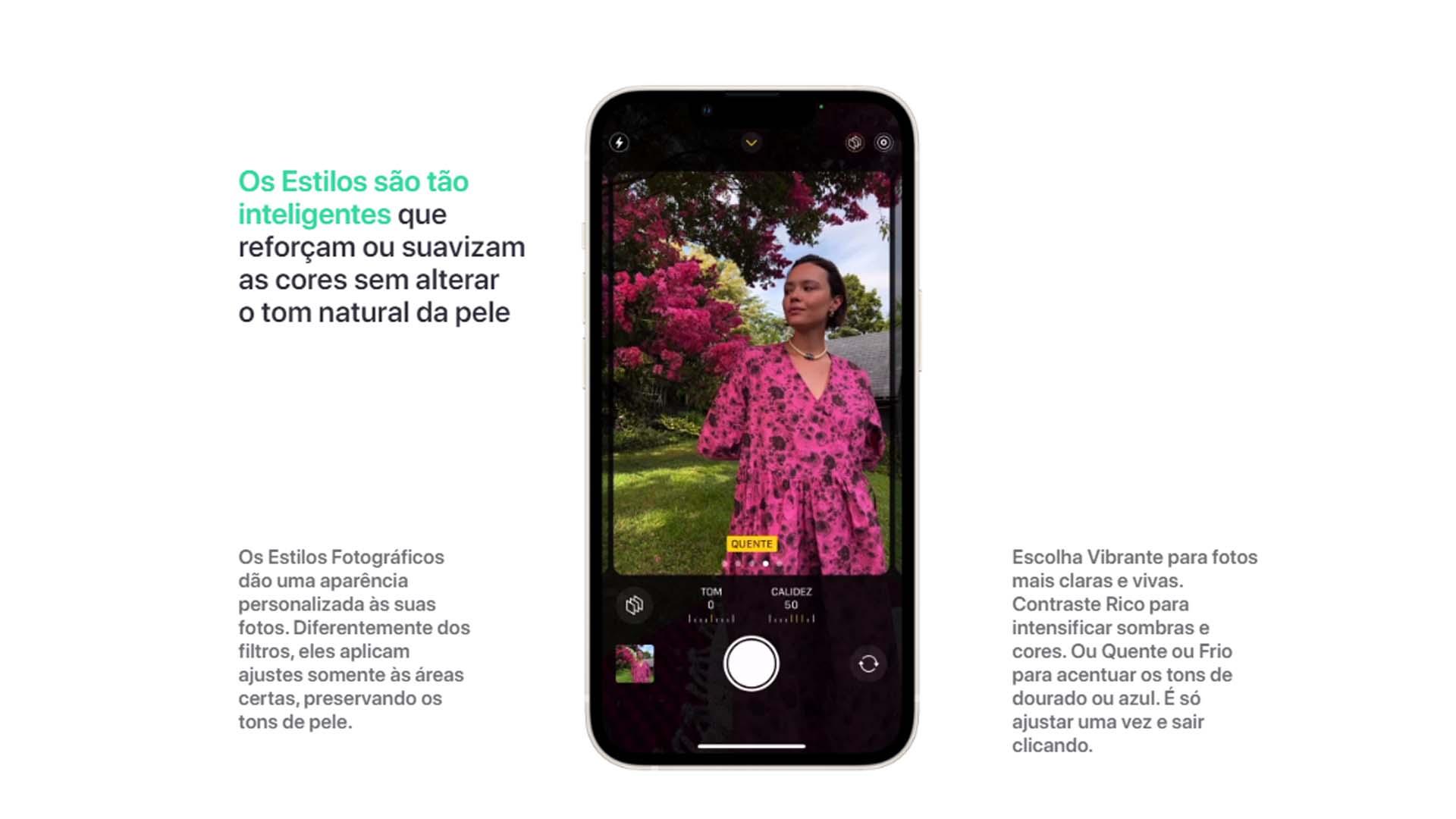 Imagem para mostrar detalhes do Modo Estilos no iPhone 13