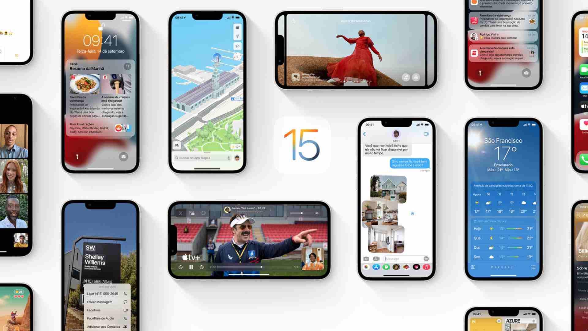 Imagem de vários iPhones com o iOS 15