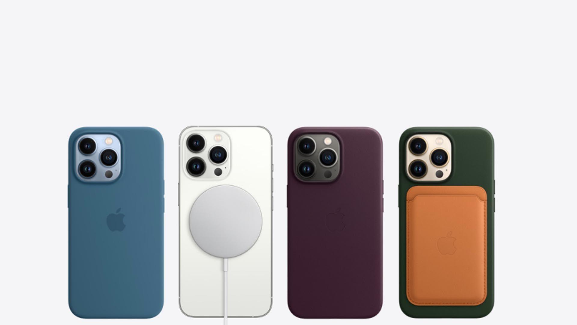 Imagem que mostra o iPhone 13 Pro Max com capas magnéticas.