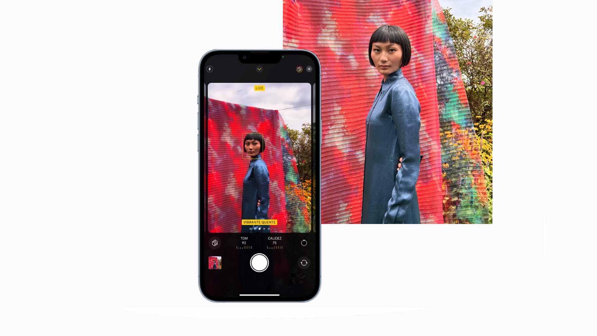 Imagem que mostra o iPhone 13 Pro aplicando o modo estilos