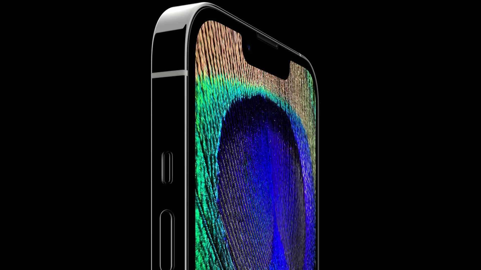 Imagem de uma mão prestes a tocar no iPhone 13 Pro