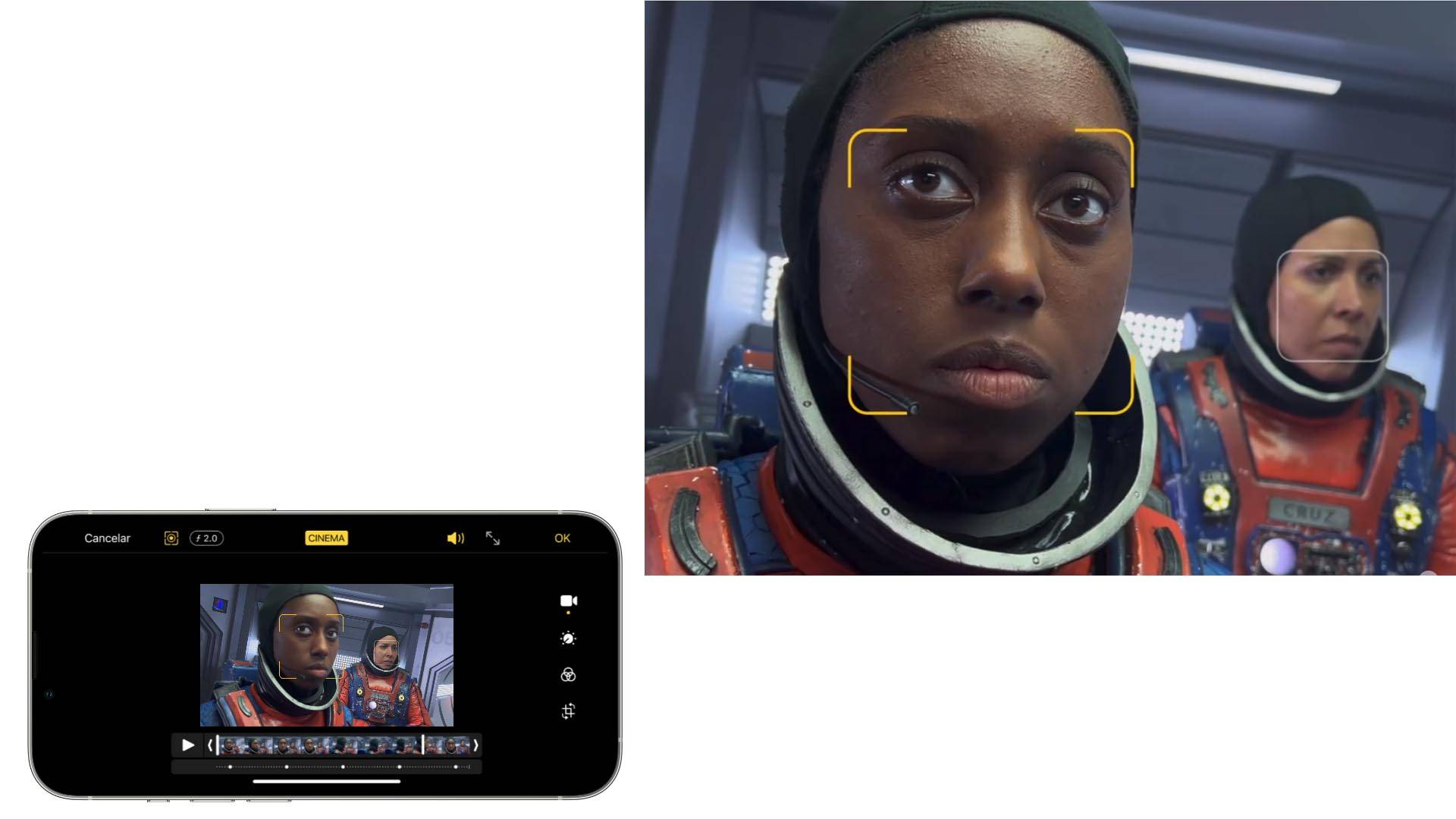 Imagem que mostra o iPhone 13 Pro aplicando o modo cinema