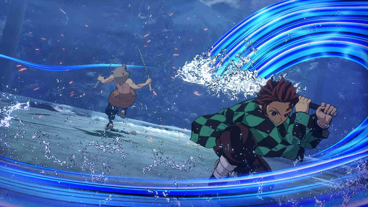 Jogo de Demon Slayer com personagens Tanjiro Kamado e Inosuke Hashibira se enfrentando