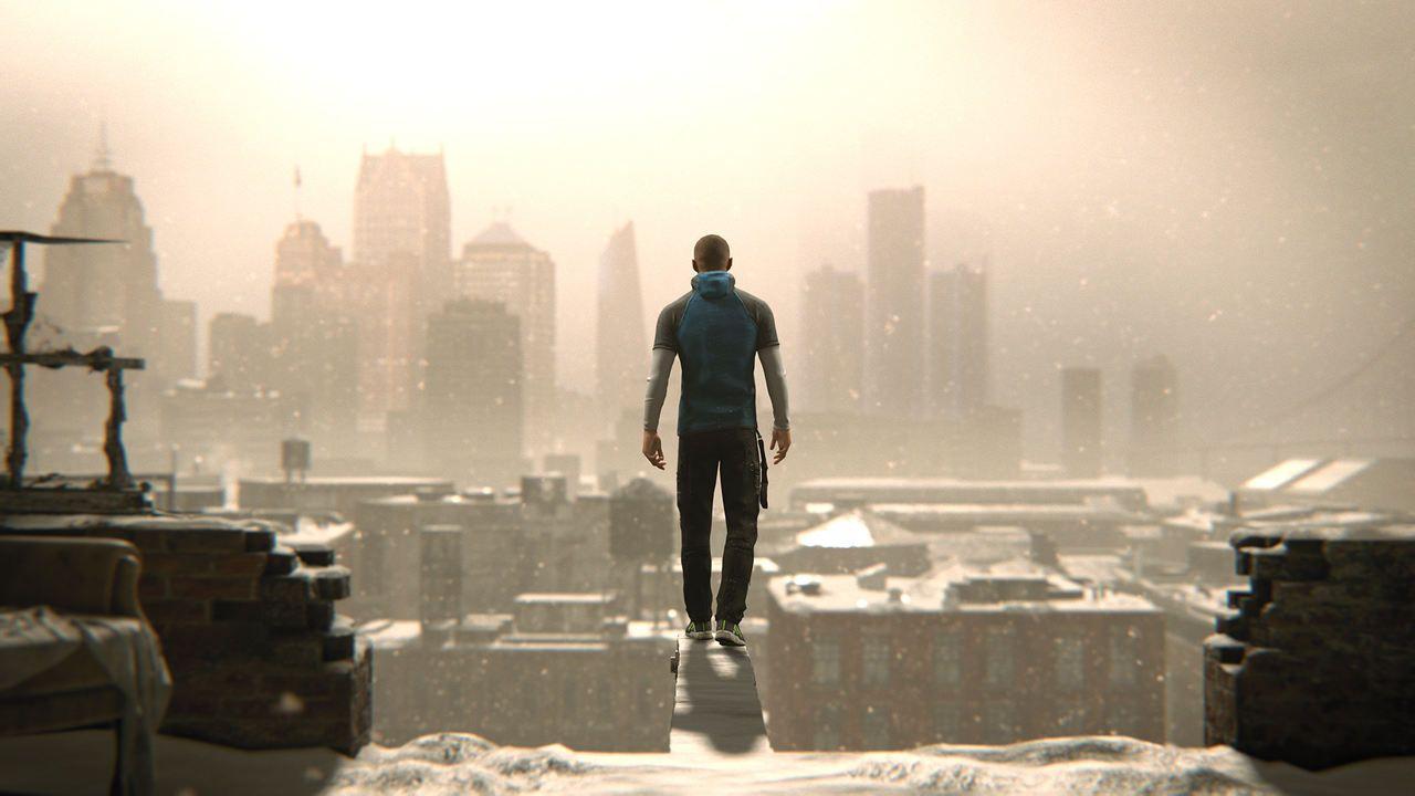 Cena de Detroit Become Human com Markus de costas em pé em uma pequena viga saindo de um prédio em obra