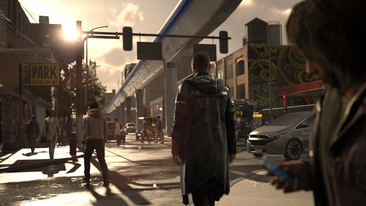 Cena de Detroit Become Human com o androide Markus andando na rua entre outros humanos e carros