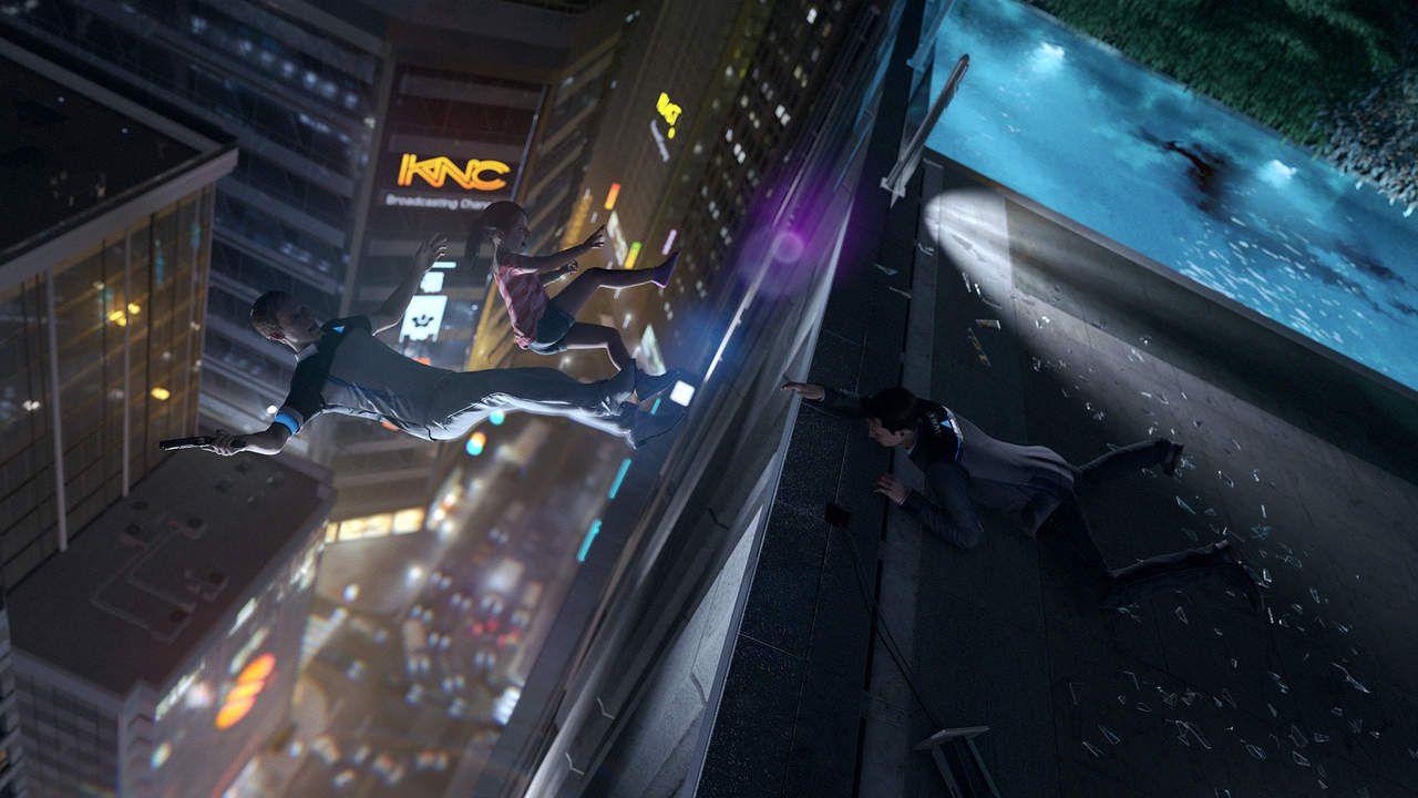 Cena de Detroit Become Human, com o androide Connor em cima de um prédio, tentando alcançar uma criança e um android caindo do alto