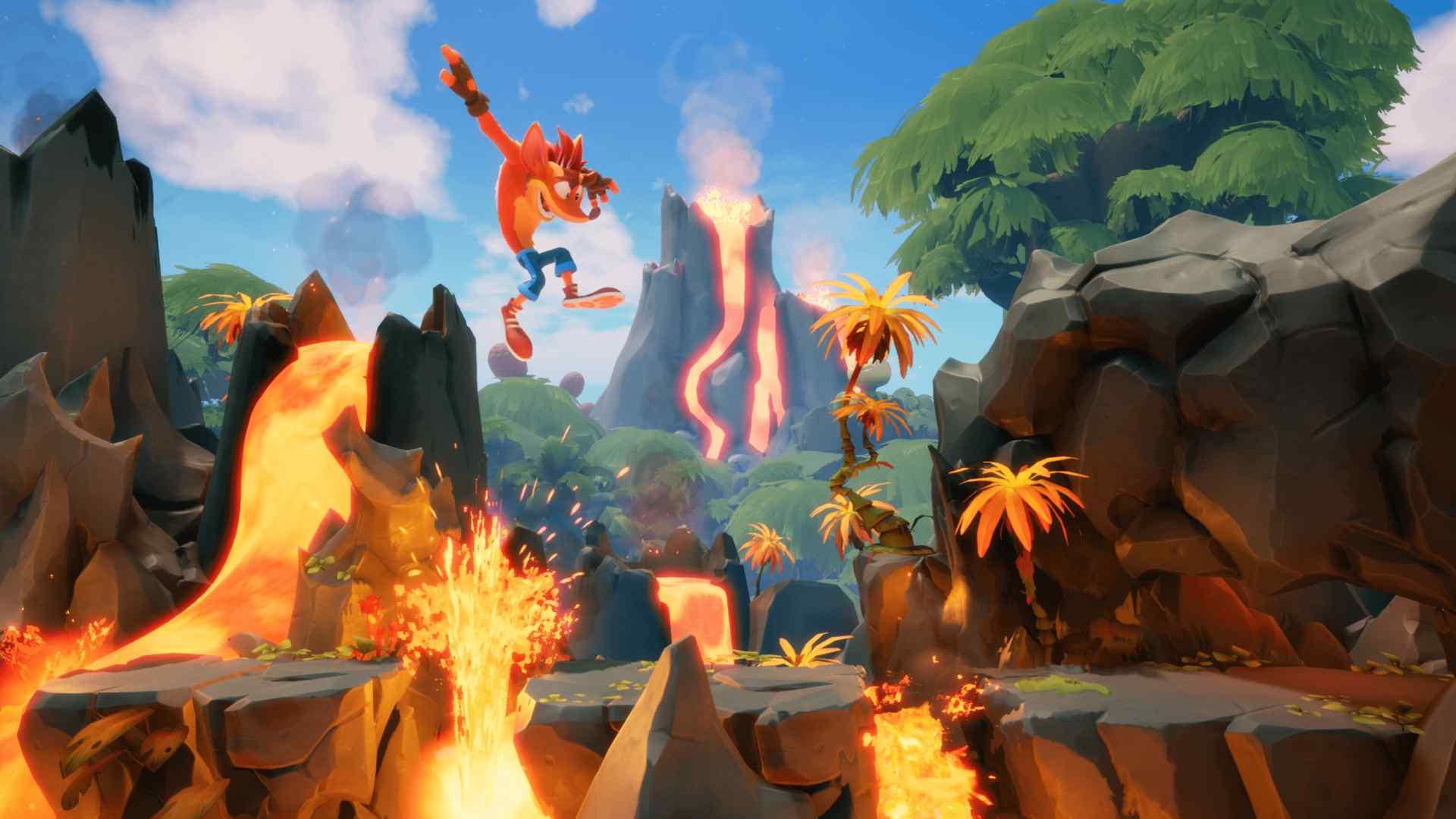 Ilustração do jogo Crash Bandicoot 4 mostrando o protagonista saltando por uma fase que se passa em um vulcão