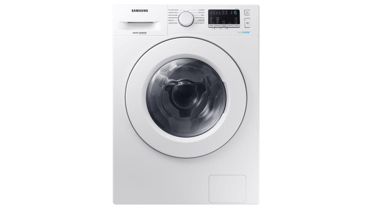 Lava e seca Samsung 11kg Eco Bubble WD4000 branca, de frente, em fundo branco