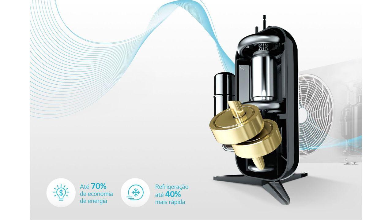 """Motor Dual Inverter em fundo cinza com os escritos """"Até 70% de economia de energia"""" e """"Refrigeração até 40% mais rápida"""""""
