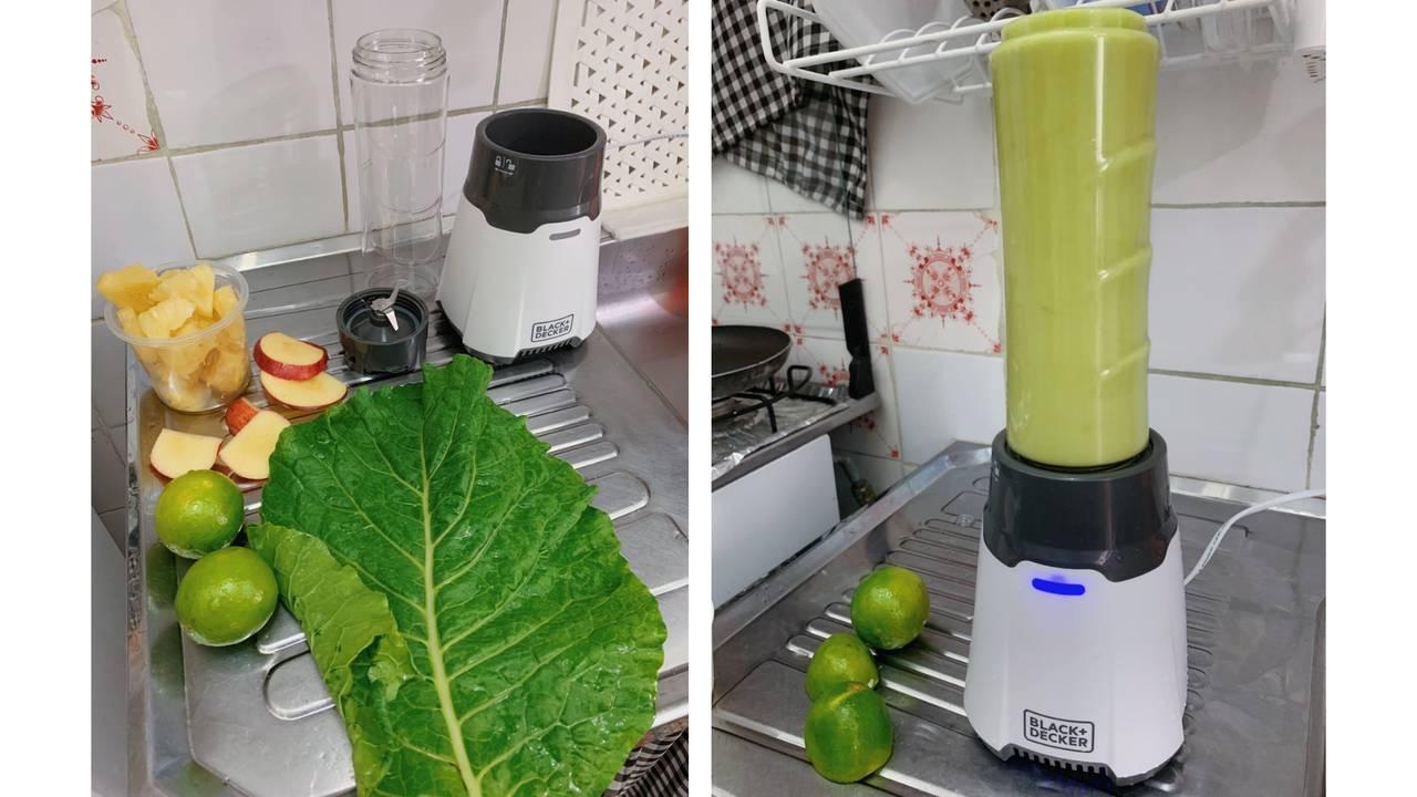 Duas fotos lado a lado. A primeira mostra o liquidificador Black & Decker desmontado do lado dos ingredientes do suco. A segunda, o liquidificador batendo o suco verde