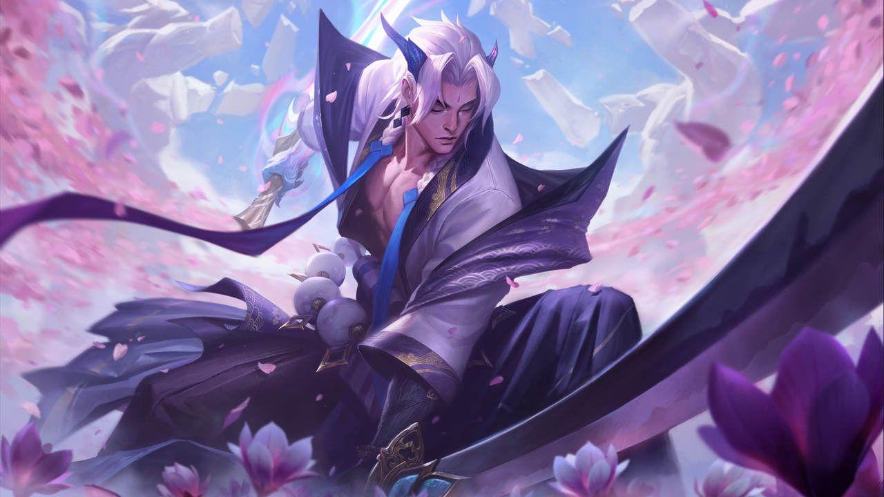 LoL skin Yone em Florescer Espiritual segurando sua lança