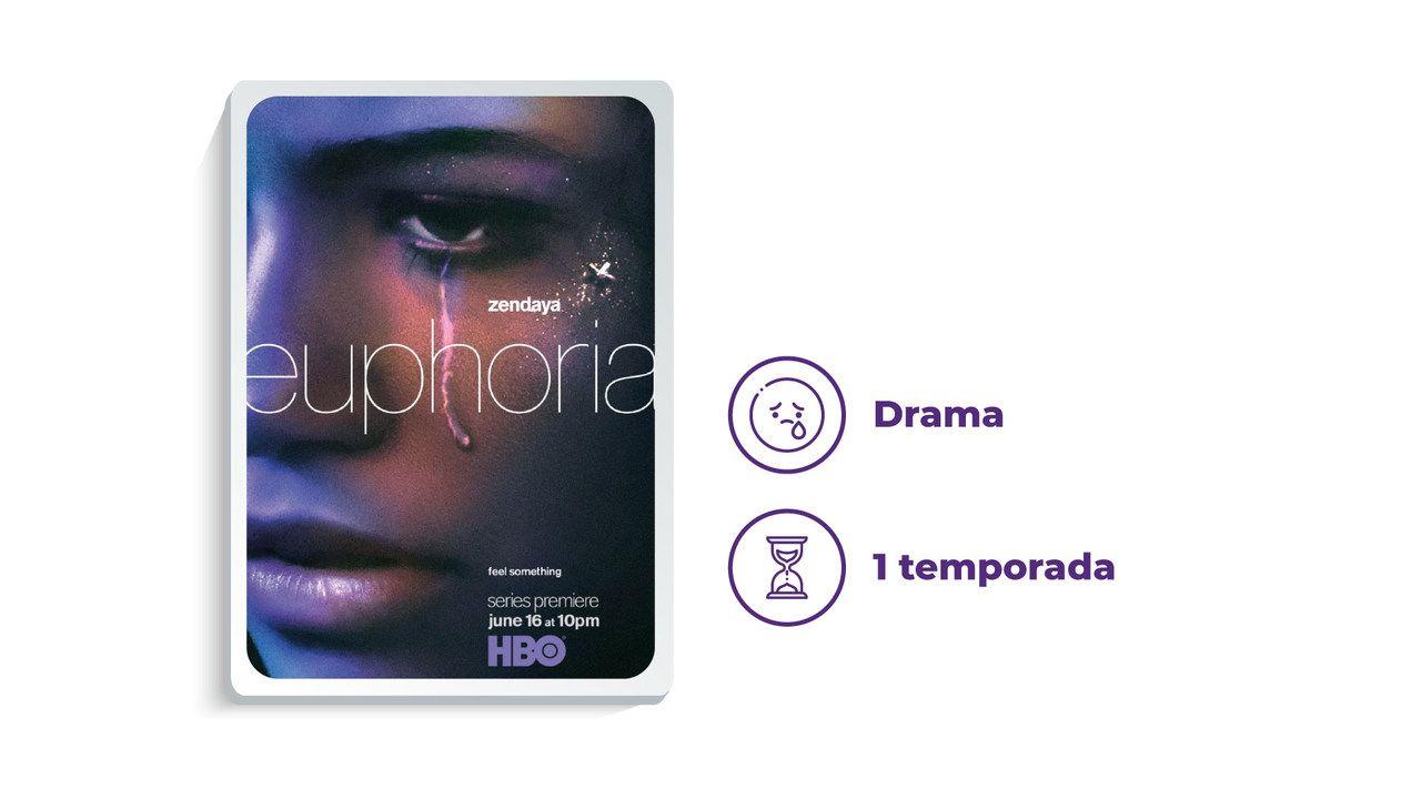 """Imagem de divulgação da série """"Euphoria"""" ao lado dos escritos """"Drama"""" e """"1 temporada"""""""
