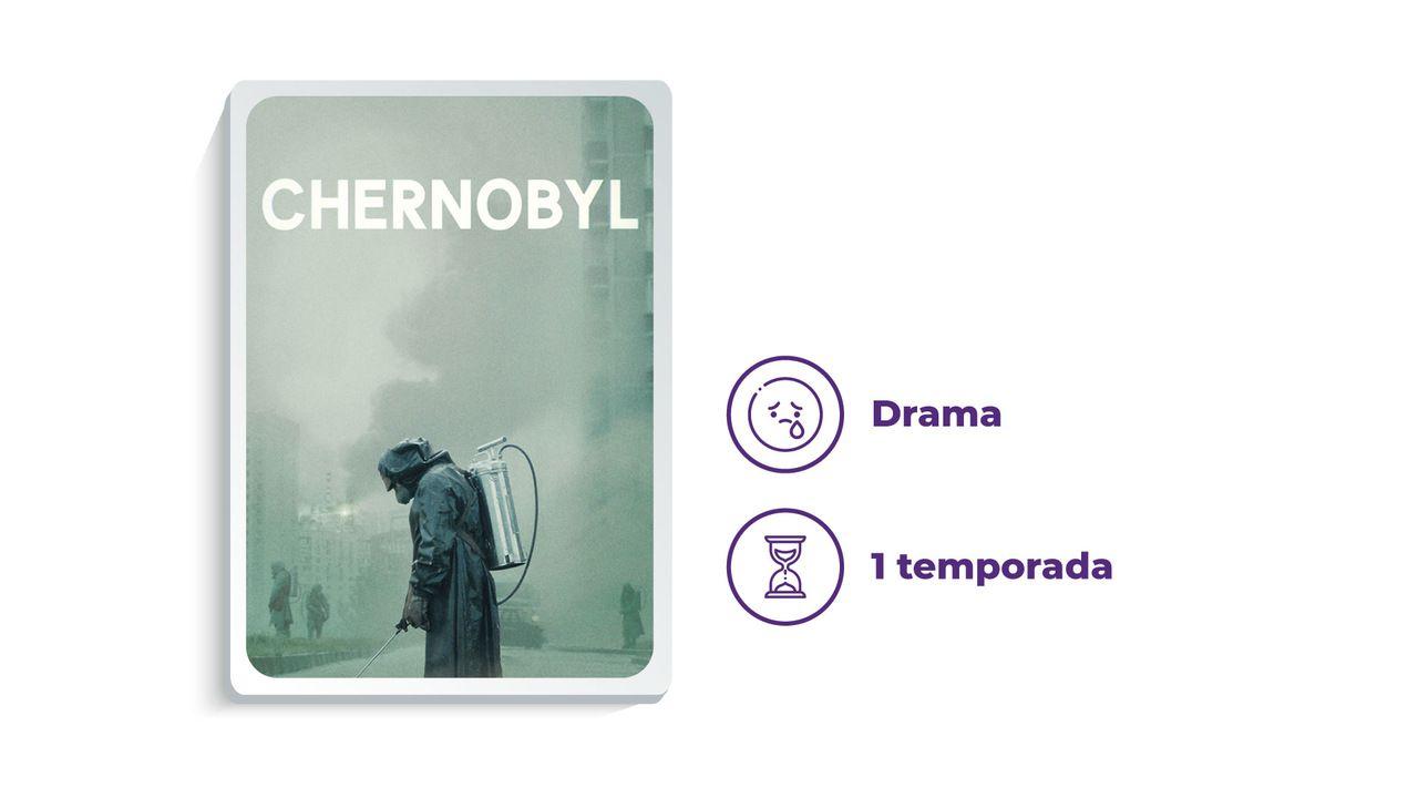 """Imagem de divulgação da série """"Chernobyl"""" ao lado dos escritos """"Drama"""" e """"1 temporada"""""""