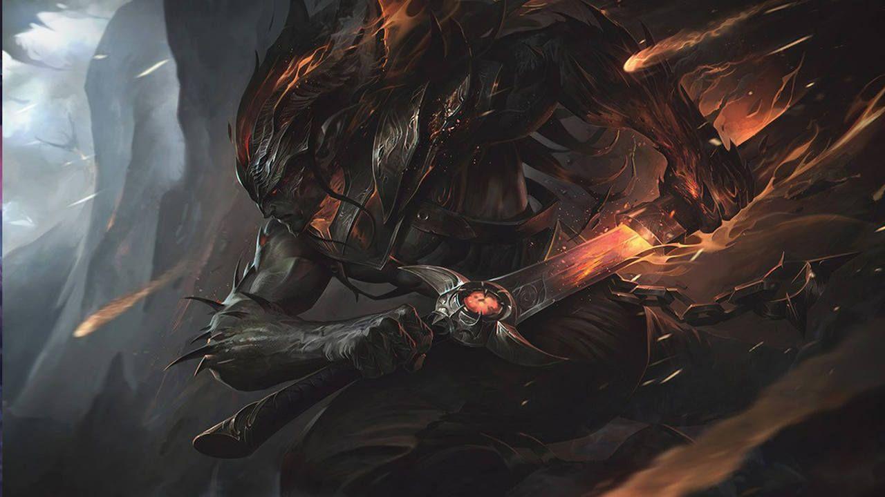 LoL skin Yasuo Emissário da Escuridão com sua espada