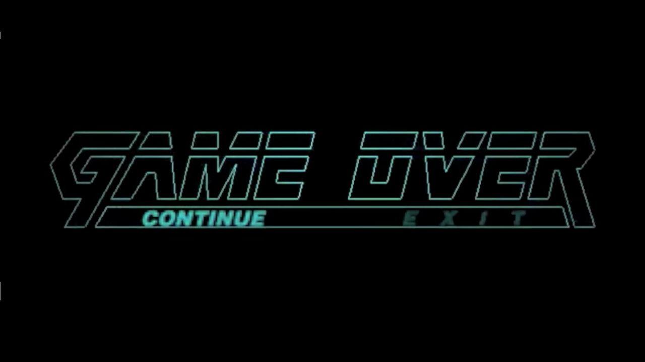 Game Over de Metal Gear Solid com tela preta com texto em turquesa com expressão Game Over em letras vazadas e as opções Continue e Exit