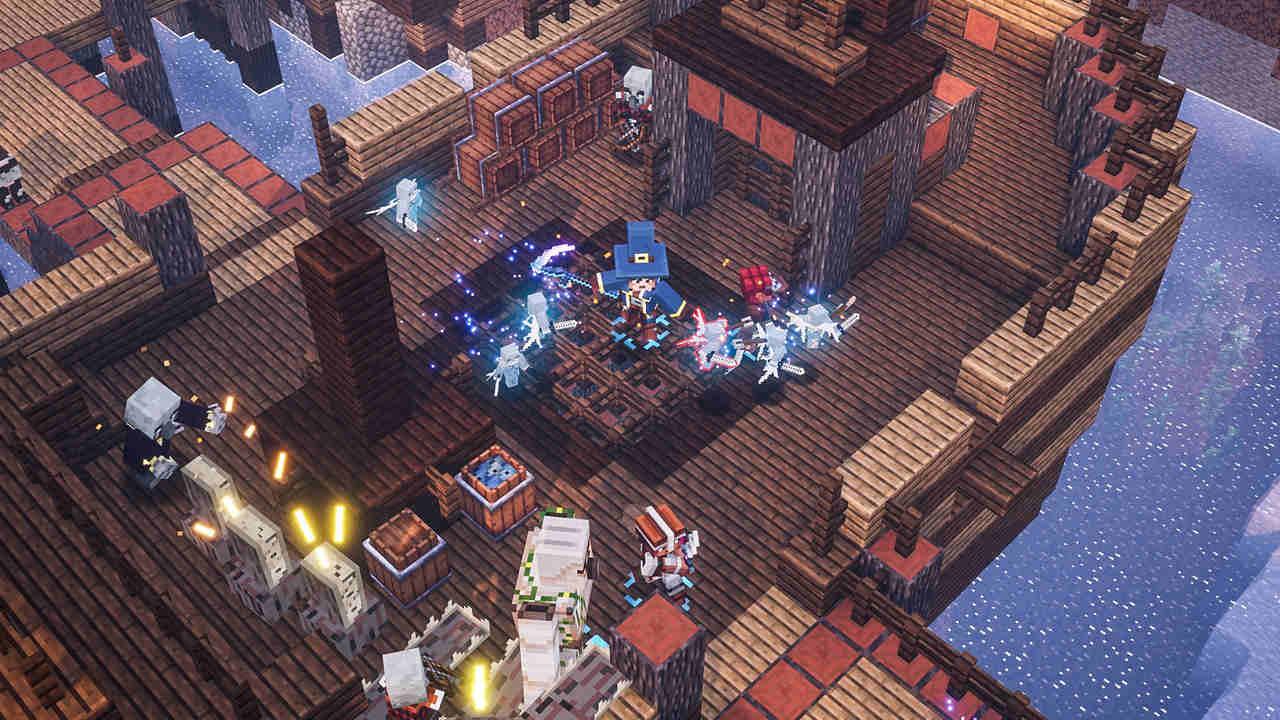 Três heróis de Minecraft Dungeons e um Golem de Ferro enfrentam um Evoker e outros Illagers em um navio