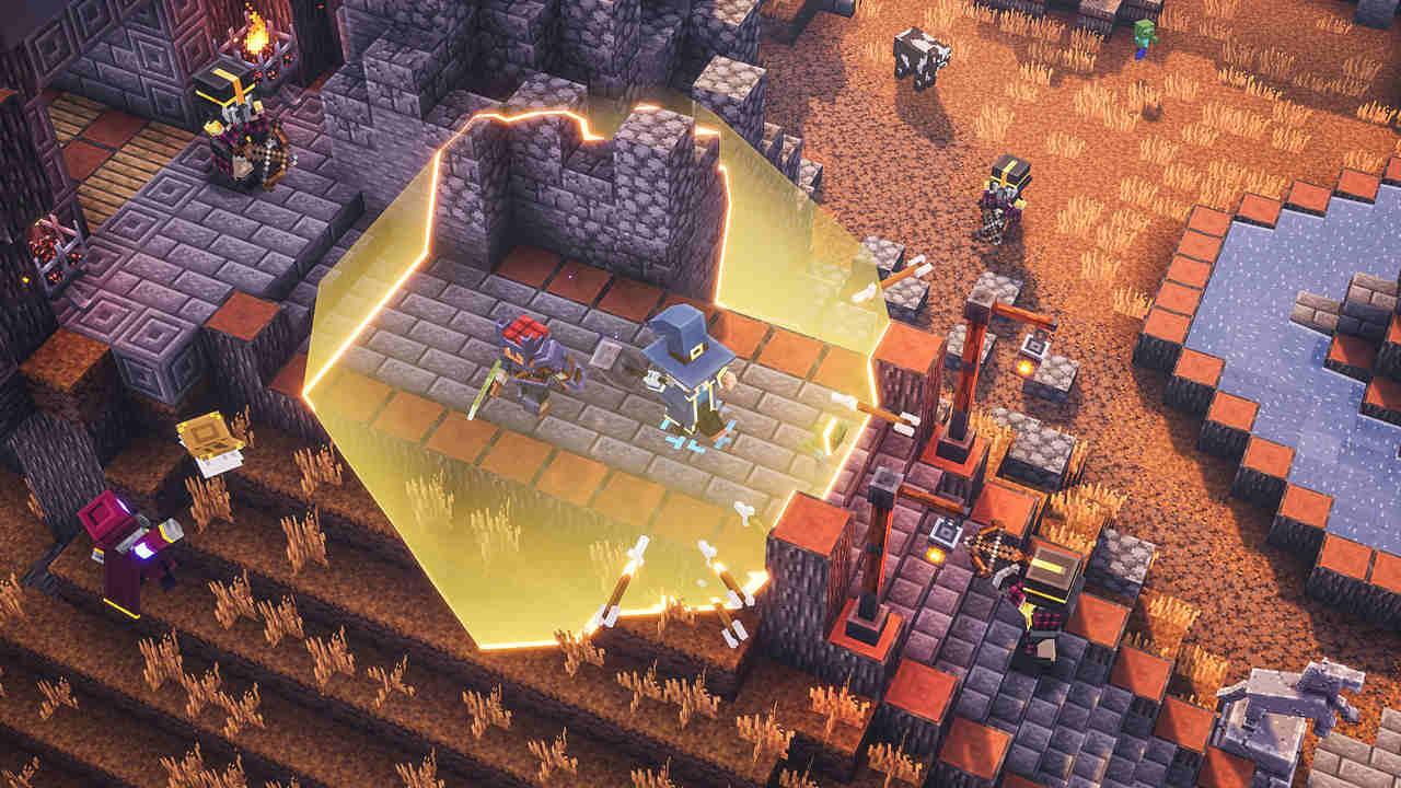 Dois heróis de Minecraft Dungeons enfrentam um bando de inimigos em uma cidade com um escudo mágico que bloqueia flechas