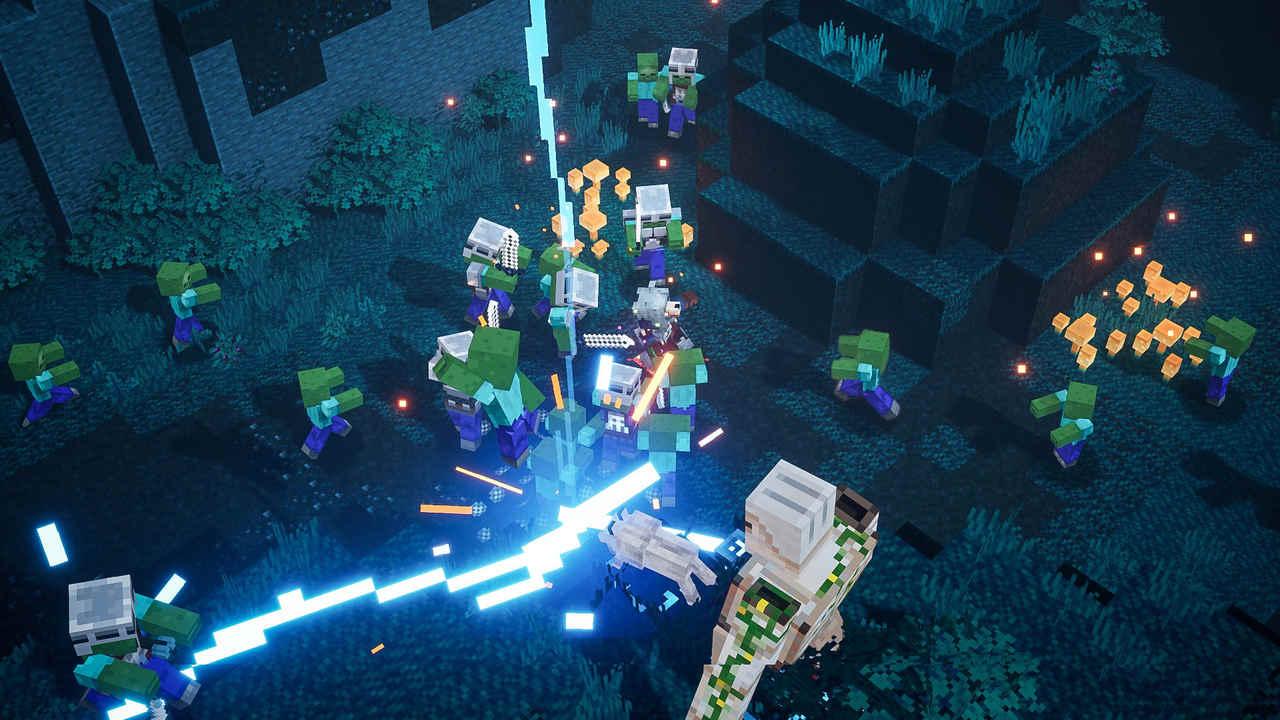 Dois heróis de Minecraft Dungeons lutam em meio a uma horda de zumbis com uma espada capaz de disparar raios
