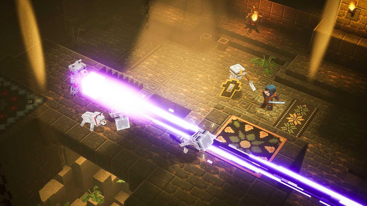 Herói de Minecraft Dungeon dispara um raio mágico contra um grupo de esqueletos enquanto outro herói luta contra outro esqueleto usando uma espada