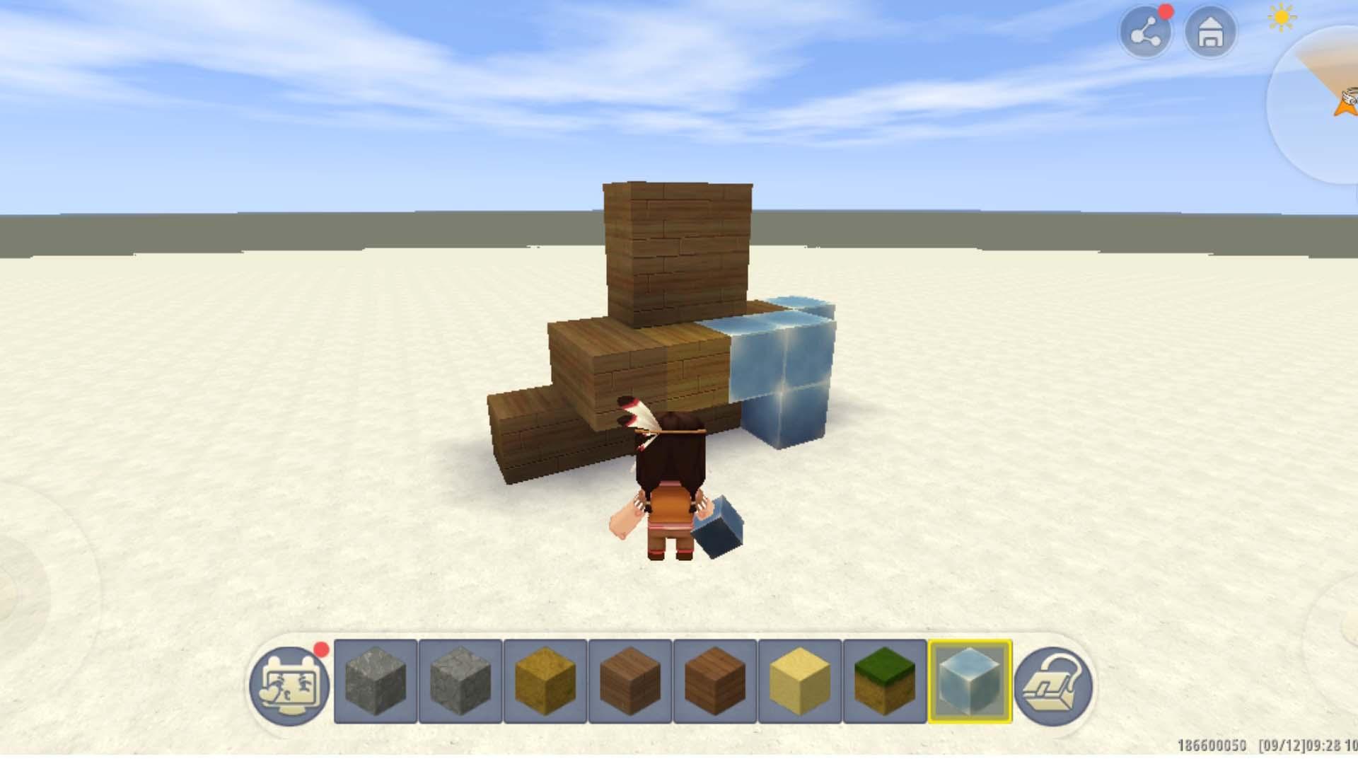 Imagem de um personagem criando blocos no Mini World