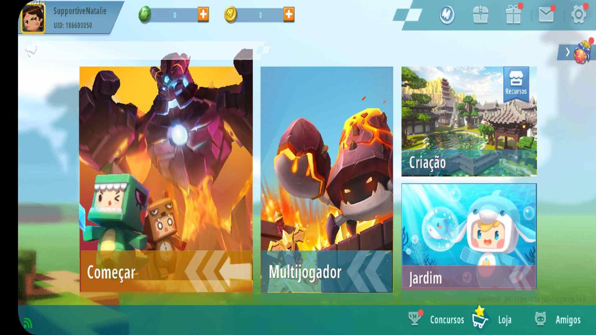 Imagem da tela inicial do Mini World