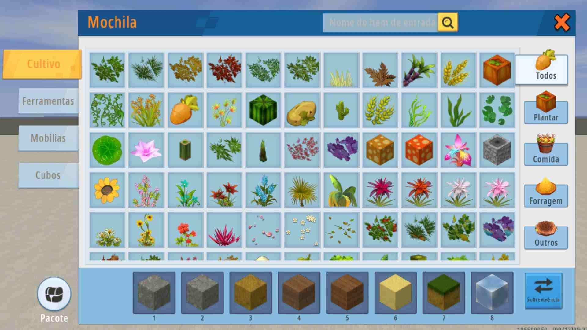 Galeria de materiais disponíveis no modo criação do Mini World