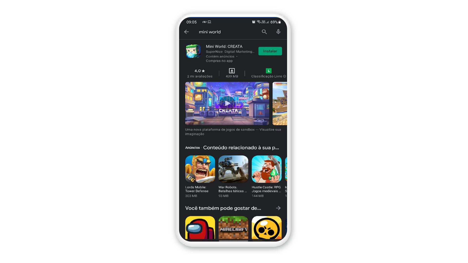 Imagem da Play Store com o jogo Mini World