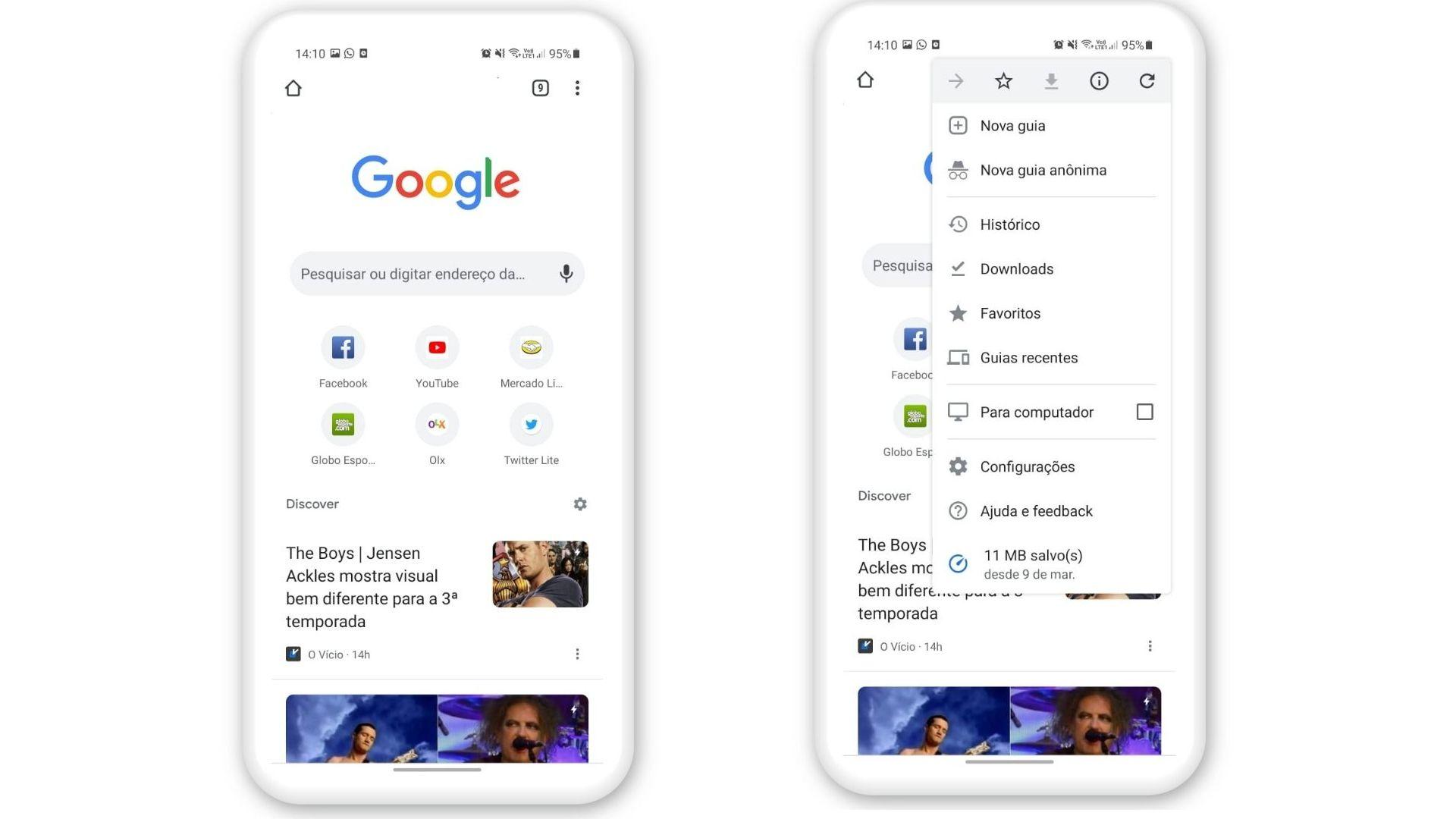 Print de tela mostrando como colocar o Google no modo escuro no Android