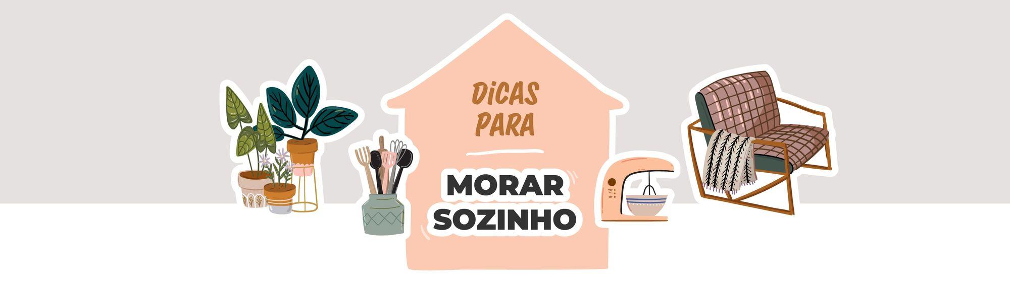 """Ilustração de uma casa, utensílios domésticos e a frase """"Dicas para morar sozinho"""""""