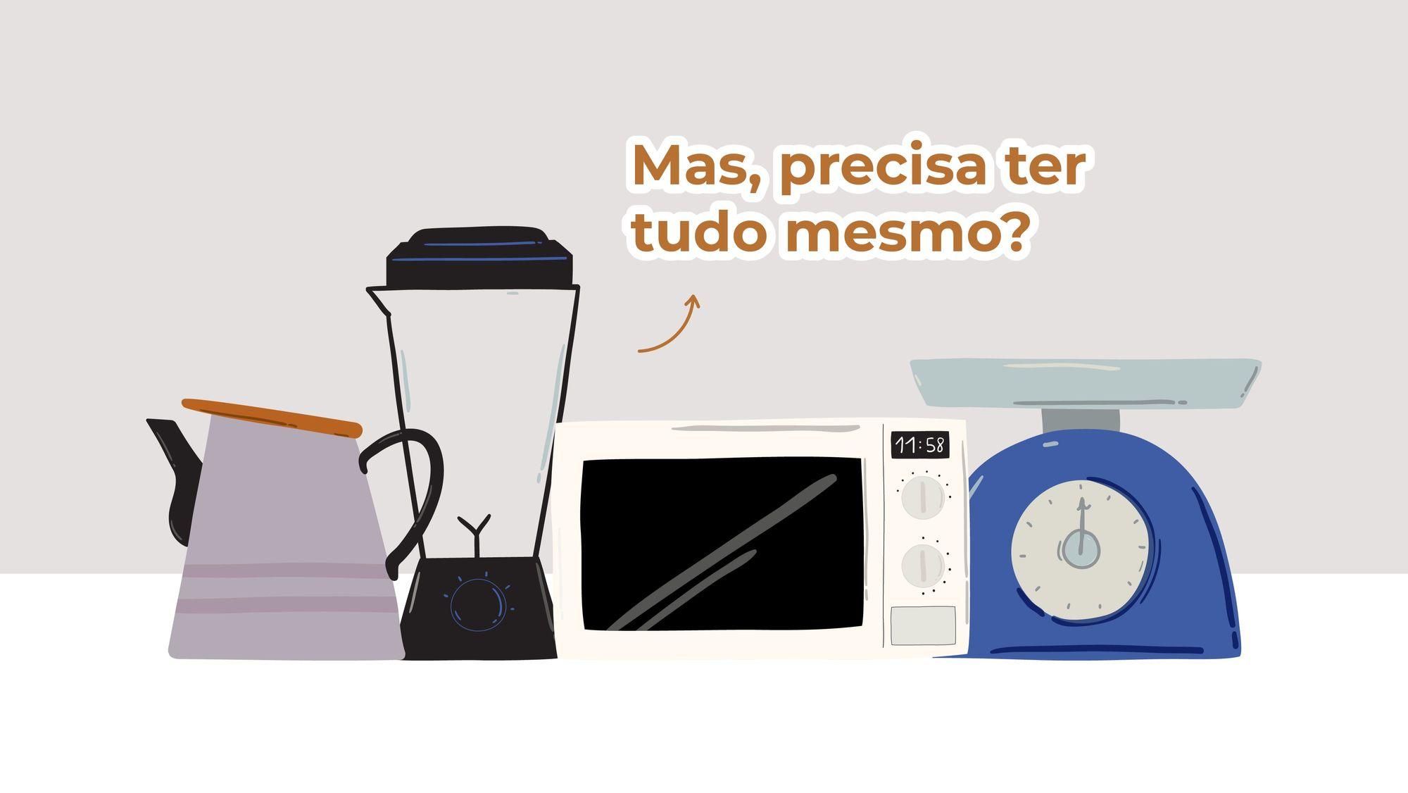 Ilustração de um bule, um copo de liquidificador, um micro-ondas e uma balança de cozinha