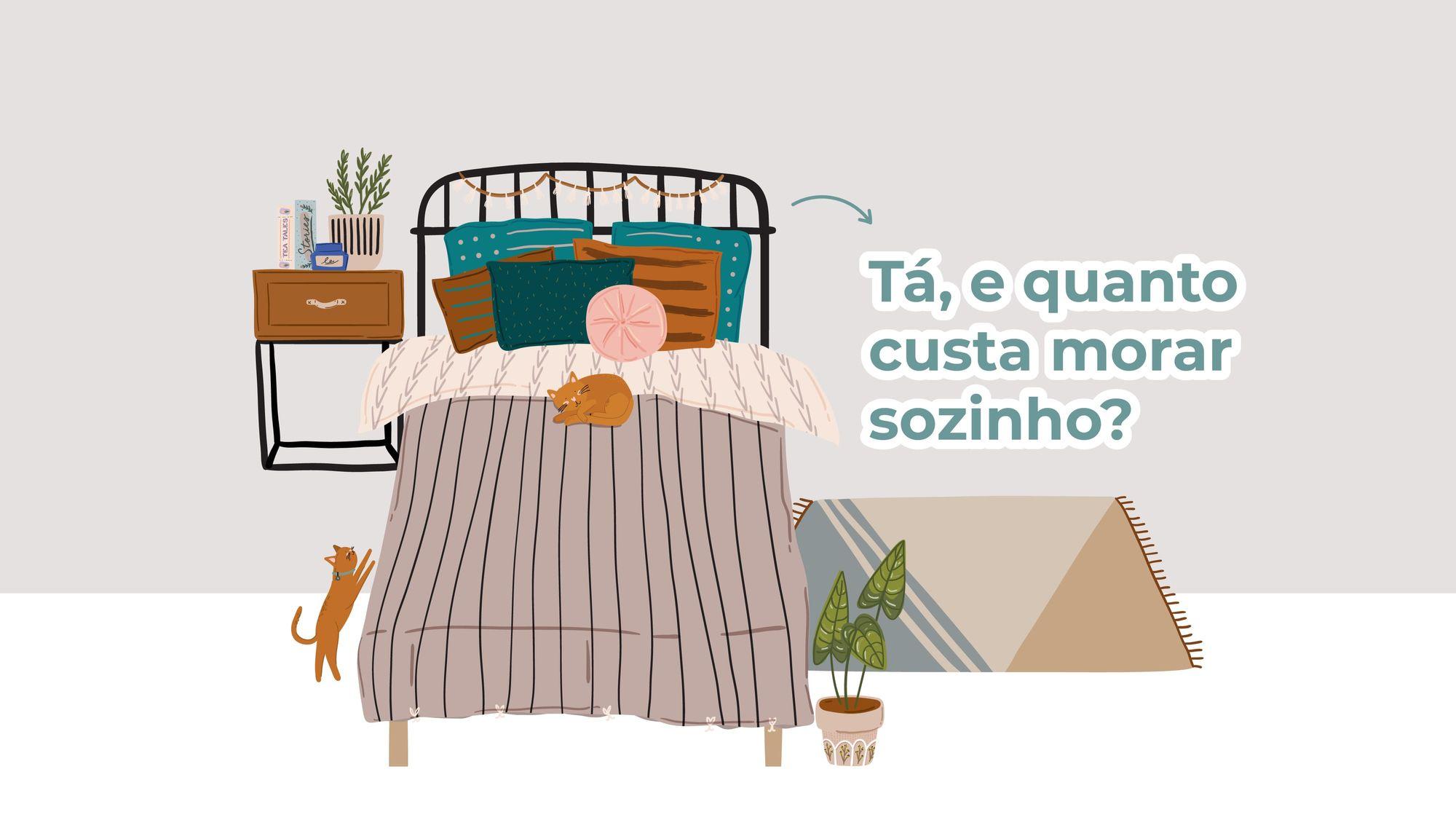 Ilustração de um quarto com cama, mesa de cabeceira, tapete, vaso de plantas e um gato