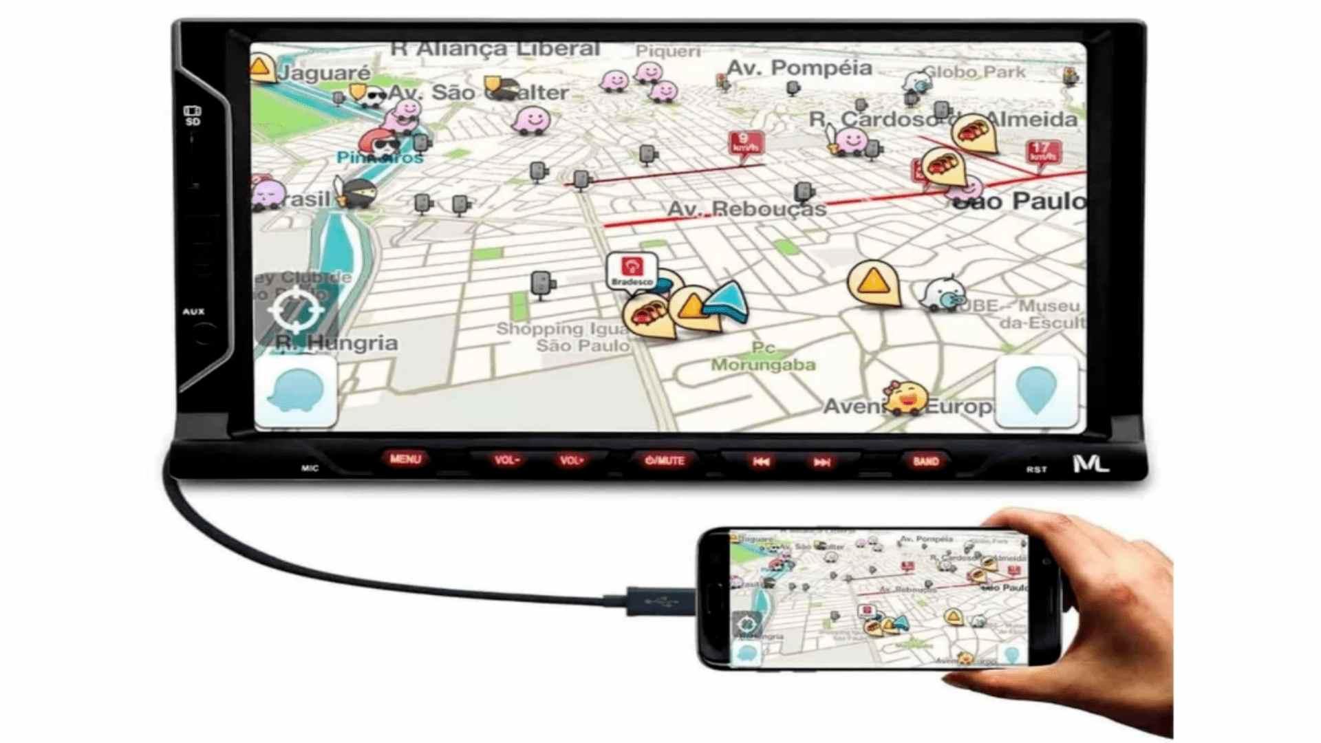 Imagem mostra central multimídia Evolve Fit P3328, seu visor e seus botões