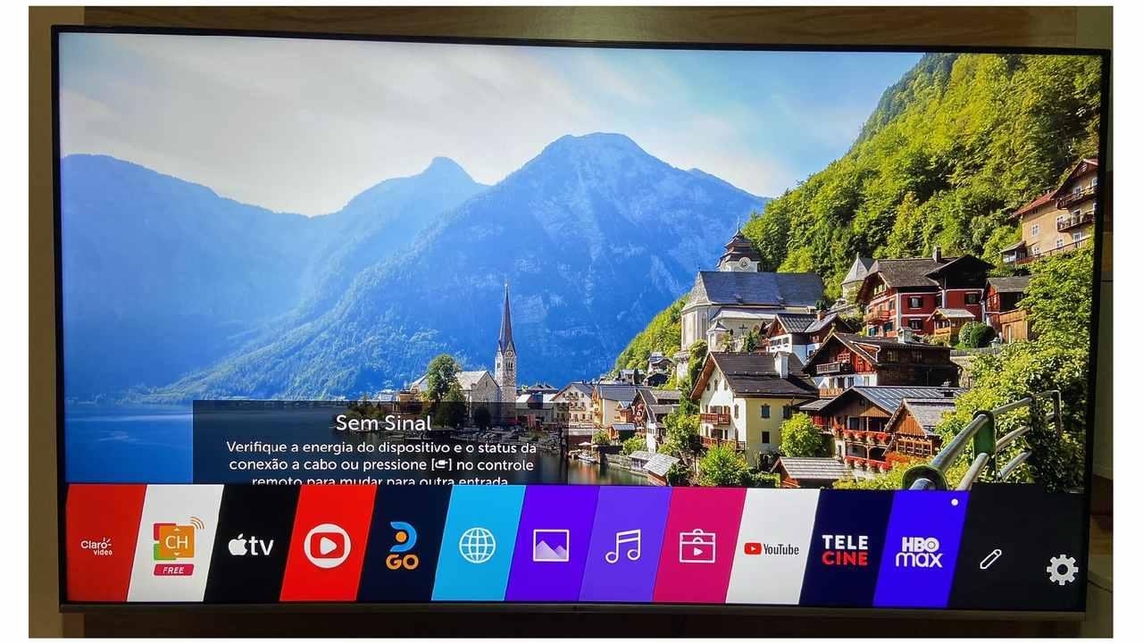 Tela da Smart TV nas configurações com o modo de edição selecionado