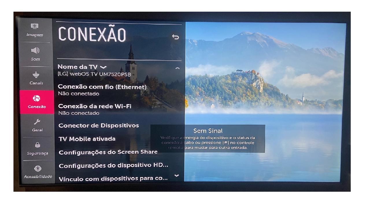 Imagem da TV LG mostrando as opções do menu de configurações