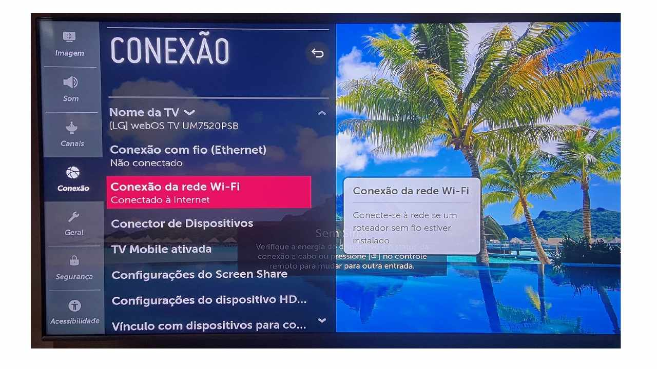 Imagem da TV LG mostrando que a rede Wi-Fi está conectada