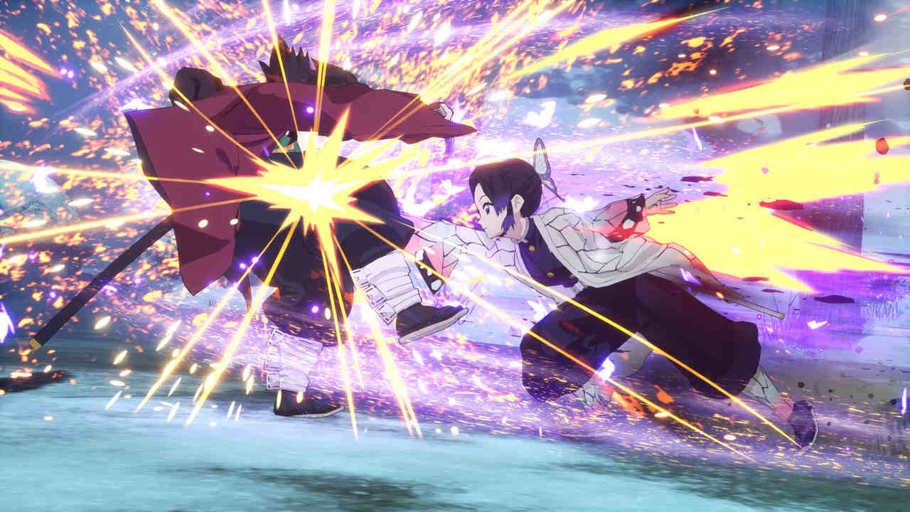 Jogo de Demon Slayer com luta entre personagens Shinobu Kocho e Giyu Tomioka