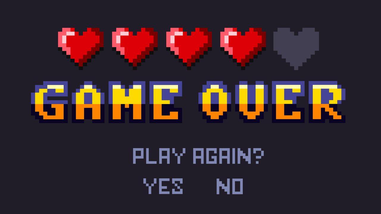 Tela preta com cinco corações em 8 bit em cima, sendo 4 vermelhos e 1 cinza, a expressão Gamer Over em amarelo no meio, e Play Again?, Yes e No em cinza e em baixo.