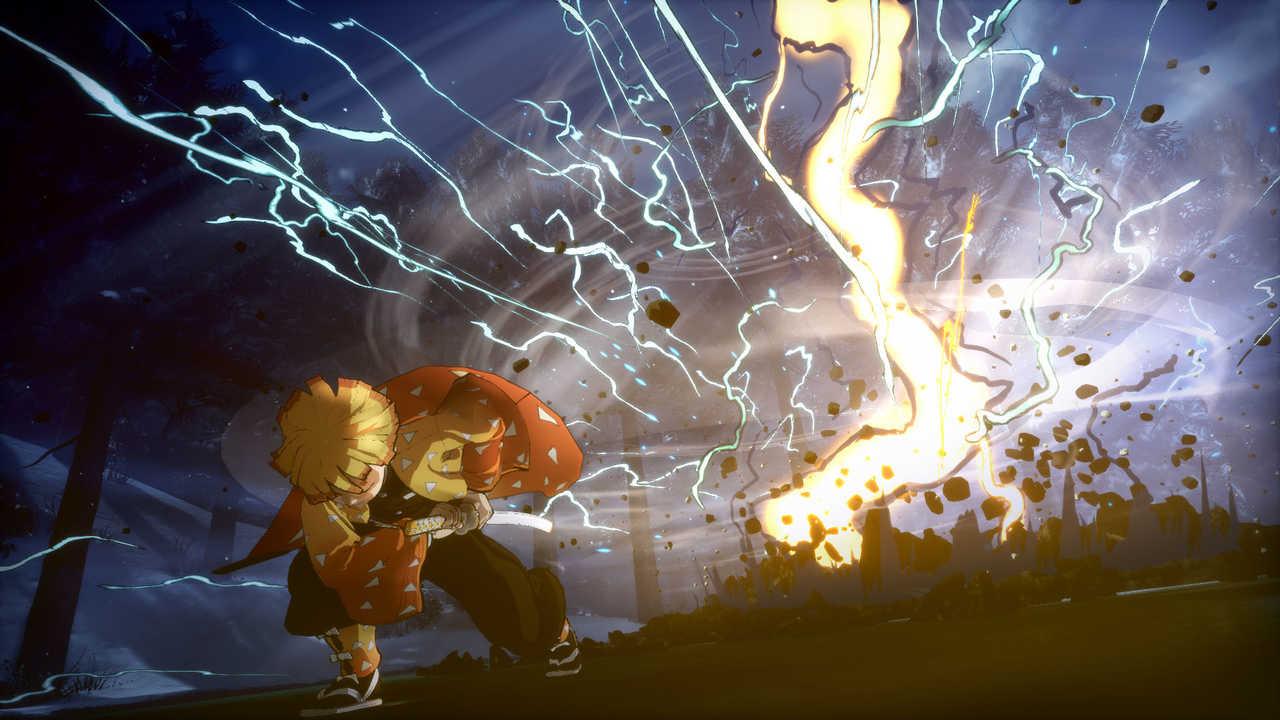 Jogo do Demon Slayer com um golpe do personagem Zenitsu Agatsuma