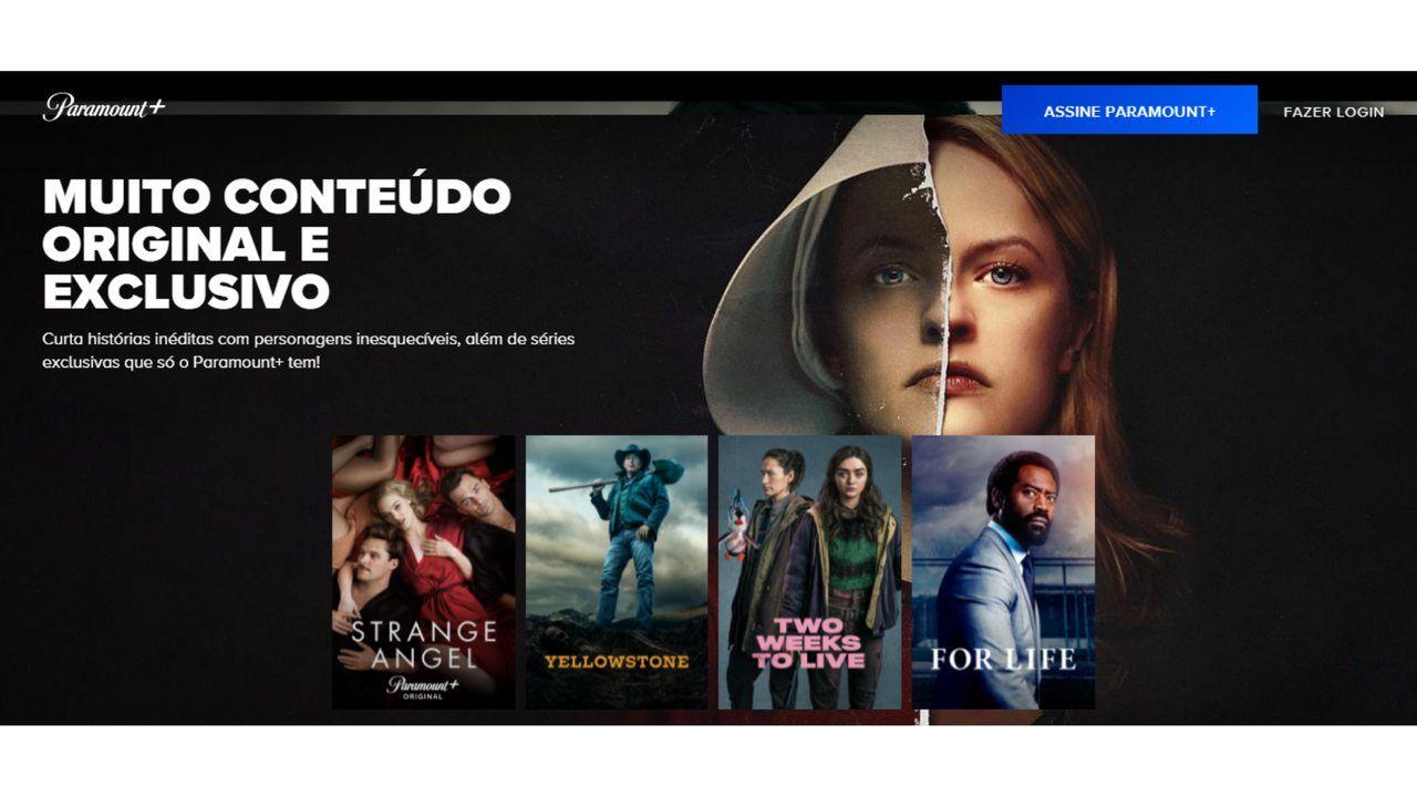 Captura de tela do site da Paramount Plus exibindo 4 dos filmes disponíveis no catálogo