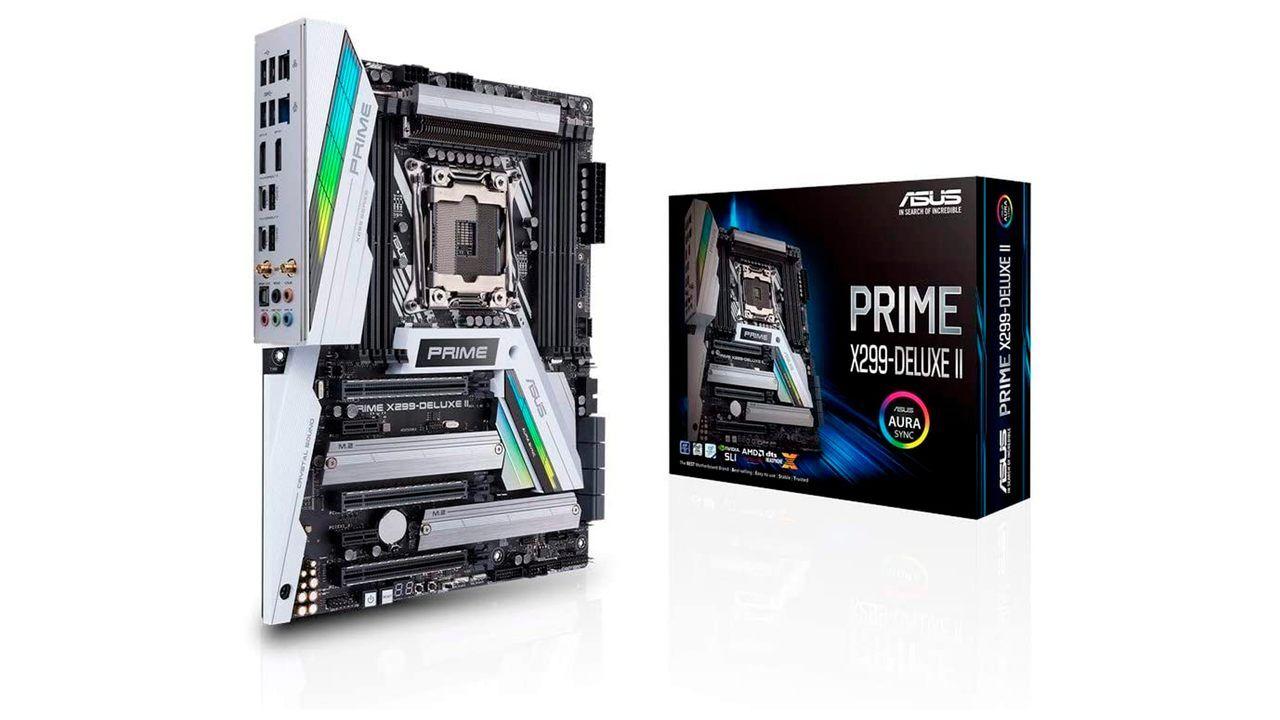 Placa-mãe Asus Prime X299-A e sua embalagem sob fundo branco.