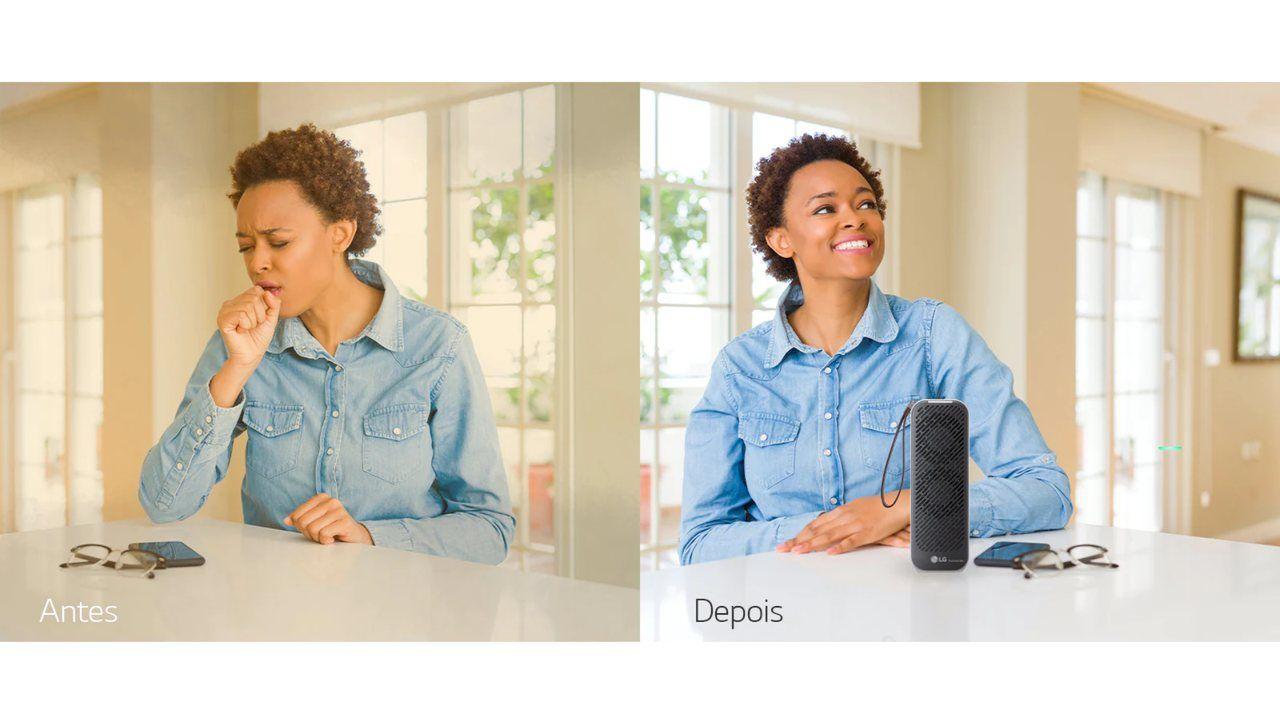 Duas imagens lado a lado mostrando um antes e depois. Na esquerda, o antes mostra um ambiente poluído, com uma mulher tossindo. Na direita, o depois mostra um ambiente claro, com uma mulher sorrindo.